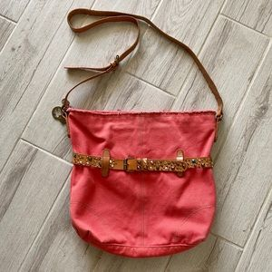 Lucky Brand Coral Canvas Crossbody Tote Bag